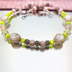 Flower Lampwork Glass Faux Pearl Cats Eye Necklace